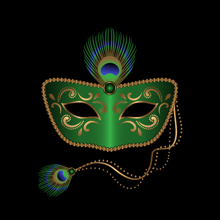 Green mask with peacock feather design Stock Illustratie