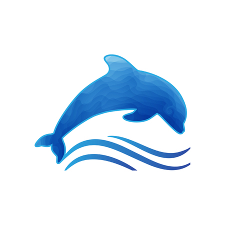 Stylized dolphin with waves  イラスト・ベクター素材