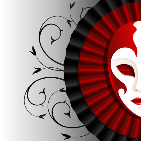 mask with red satin frill Vector illustration.