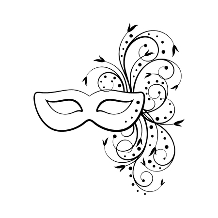 outline of carnival mask Vector illustration.