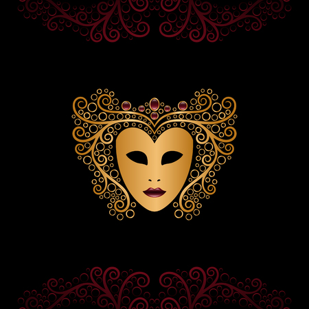 golden mask with curly hair Vector illustration.