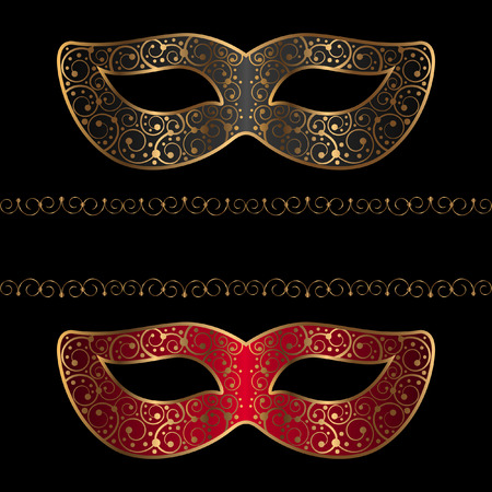 carnival masks with golden ornament Vector illustration. 矢量图像