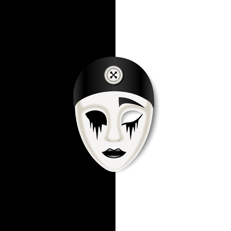 Sad mask on black and white background