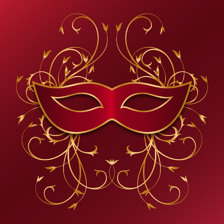 red mask with golden ornament Vector illustration.