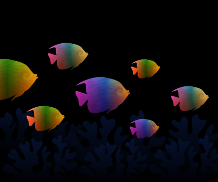 colorful fish group Vector illustration.