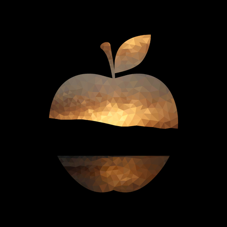 Illustration of an apple shape with sunset design
