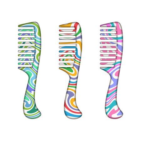 abstract painted hair combs