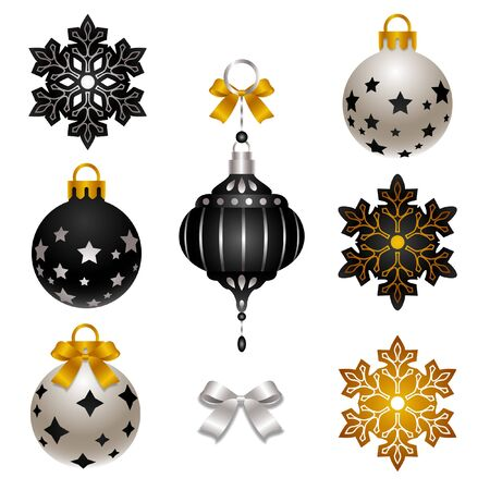set of elegant Christmas decoration 矢量图像
