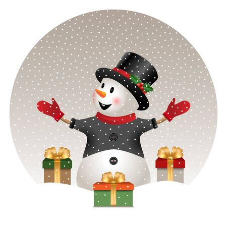 happy snowman with Christmas gifts