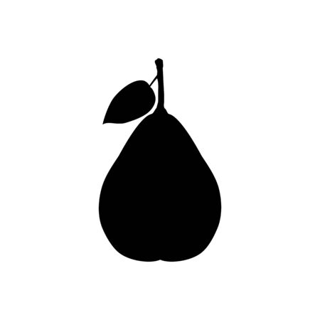 black silhouette of pear 矢量图像