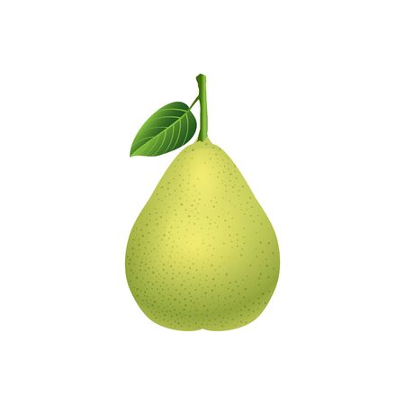 fresh pear with gree leaf