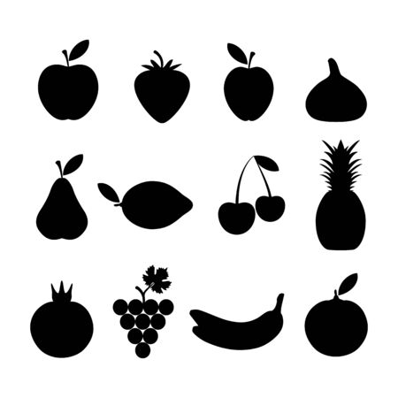 black silhouettes of fruits