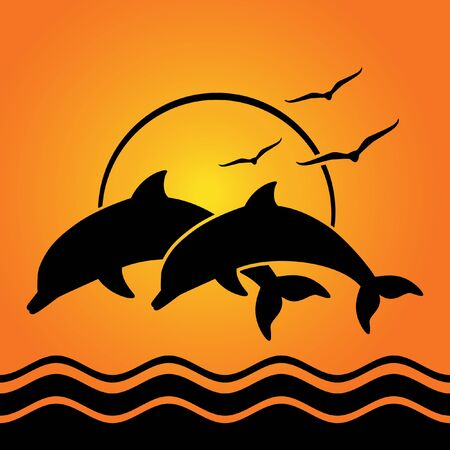 dolphin silhouettes on sunset background 矢量图像