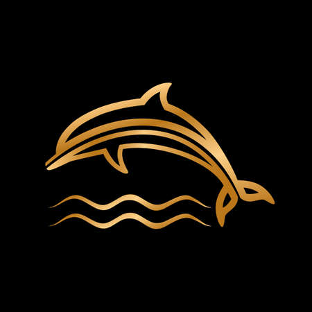 golden dolphin with waves