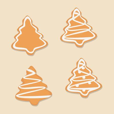 Christmas tree gingerbread cookies set, cartoon style vector design. 写真素材 - 131934953