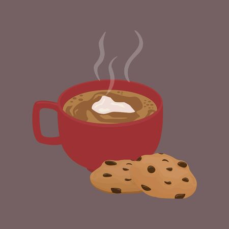 Vector illustration of hot cocoa an chocolate chip cookies, cartoon style illustration design.