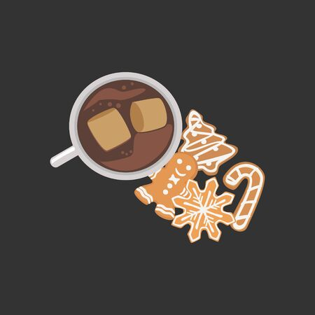 Vector illustration of hot cocoa an gingerbread cookies, holiday cartoon style illustration design. 写真素材 - 131936410