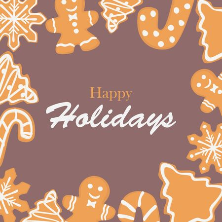 Holiday card with gingerbread cookies frame, cartoon style design, vector card, banner, background design. 写真素材 - 131935478