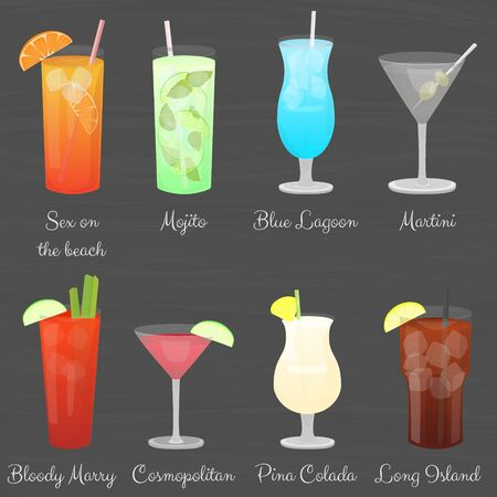 Cartoon vector cocktail drinks set, simple colored design. Ilustracja
