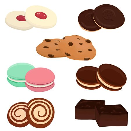Vector set of different cookie types, simple cartoon design elements. 写真素材 - 131935469