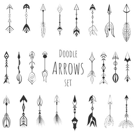 Doodle boho arrows vector set, hand drawn icons.
