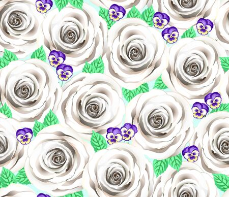 White Rose And Violet Flower Vector Pattern. Cite Floral Seamless Background. Elegant Tiffany Cream Roses And Pansies. Wedding Hand Drawn Greeting Cart.