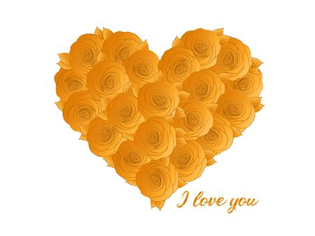 Love Greeting Card With Gold Rose Heart. Hand Drawn Cute Present For Girlfriend, Wife, Boyfriend. Heart Shaped Anniversary Card For Loved Ones. Wedding Gift. Precious Shiny Roses. I love you.