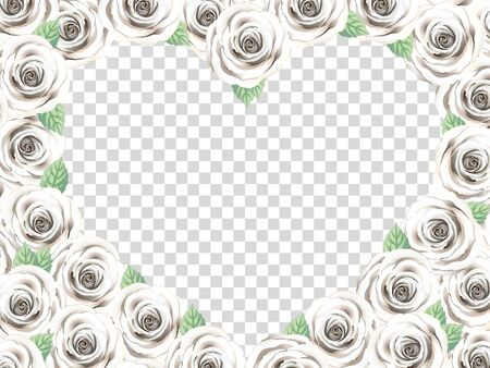 White Rose Heart Photo Frame. Floral Top View Flat Lay Picture Frame. Elegant Vintage Roses With Leaves, Transparent Background. Love Greeting Anniversary Card. Wedding Gift. Standard-Bild - 139670142