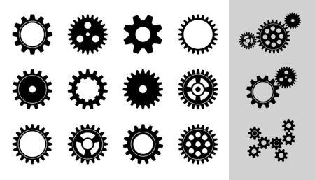 Vektor-Maschinen-Zahnrad-Sammlung. Satz Zahnräder und Zahnräder, flache Symbole in Schwarzweiß, unterschiedliche Konfiguration. Uhrwerk Runde Details. Zahnräder können durch Ändern der Größe zu einem Mechanismus kombiniert werden.