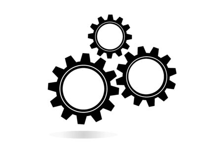 Machine Cogwheels, Black And White Vector Flat Icon. Three Gear Wheels, Cogs, Clockwork Details. Business Concept Elements For Infographics Poster. Can Be Combined Into Mechanism By Changing Size.