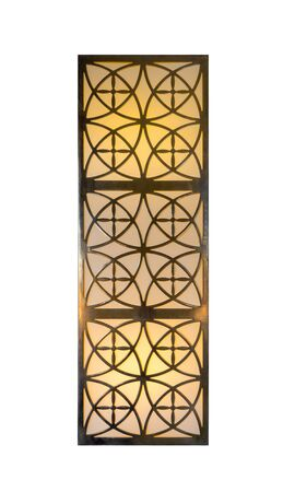 Modern Oriental Decorative Lighting Lamp Isolated On White Background. Geometric Wall Light With Gold Ornamental Pattern. Arabian Culture And Design.