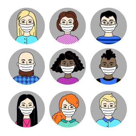 People Wearing Face Masks, Men And Women, Different Nationalities. Set of Vector Pictograms, Collection Of Simple Flat Signs. Respirators To Prevent Air Pollution, Disease, Flu. Sars-Covid-19 Pandemic Vectores