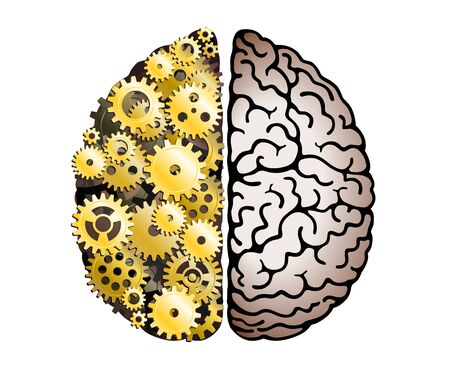 Vector Mechanical Human Brain On White Background. Cerebral Hemispheres, Convolutions Of The Mind Brain. Cog Wheel And Gears, Hard Process Of Thinking And Finding Ideas. Creativity, Brainstorm Concept 일러스트