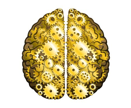 Vector Mechanical Human Brain On White Background. Cerebral Hemispheres, Convolutions Of The Mind Brain. Gold Cog Wheel And Gears, Process Of Thinking And Finding Ideas. Creativity, Brainstorm Concept