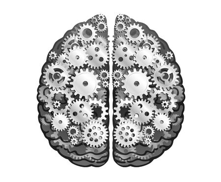 Vector Mechanical Human Brain. Silver Metal Cog Wheels And Gears. Cerebral Hemispheres, Convolutions Of The Mind Brain. Process Of Thinking And Finding Ideas. Creativity, Brainstorm Concept.