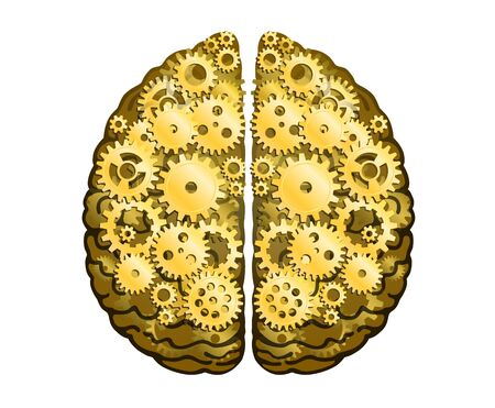 Vector Mechanical Human Brain. Cerebral Hemispheres, Convolutions Of The Mind Brain. Gold Metal Cog Wheels And Gears, Process Of Thinking And Finding Ideas. Creativity, Brainstorm Concept.