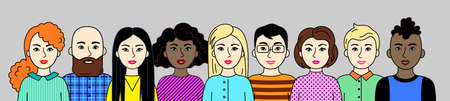Group of people, men and women of different nations, skin and hair colors. Set of Asian, European, African cartoon simple portraits. Multiethnic society. Diversity. Avatars. Vector flat illustration.