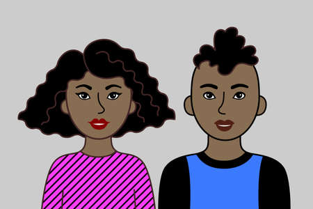 Two Young Adults, African or Brazilian Man And Woman. Pair of friendly nice people with black skin, cartoon simple portrait. Vector Flat Design, easy to edit.