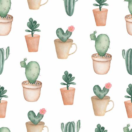 Watercolor hand painted house plants in flower pots. Cactus in pink with pink flowers. Topic succulents and flowering plants.