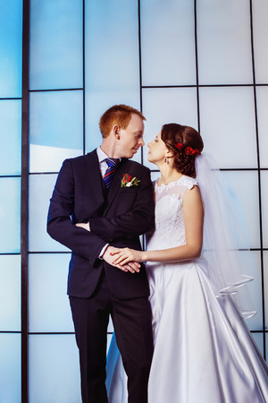 lovingly: Vertical portrait of beautiful young wedding couple holding hands lovingly at bright blue window background. Stock Photo