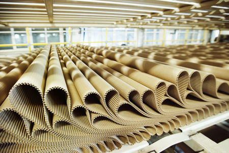 conveyor belts: Closeup image of pleat cardboard row at factory background.