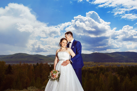 wedding couple: Beautiful elegant young wedding couple is embracing at top of hill with picturesque amazing view at summer bright sky and forest background.