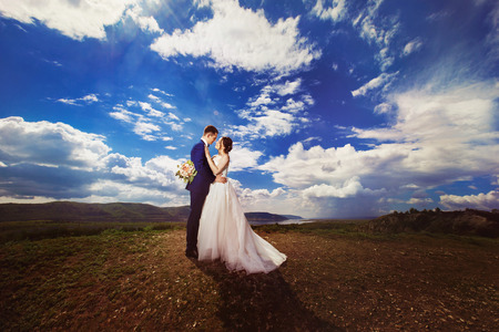 bride dress: Happy beautiful bride is looking at elegant groom at top of hill with picturesque summer landscape background.