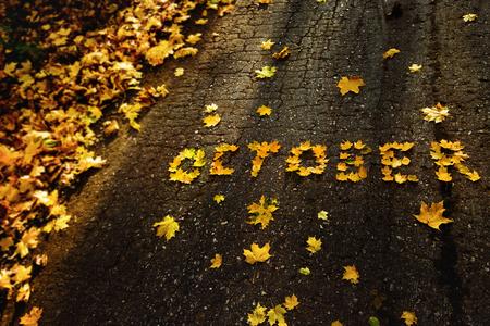 Palabra octubre hecha de hojas amarillas de otoño en el fondo de asfalto. Foto de archivo
