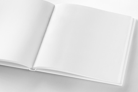 square: Mockup of opened blank square book at white design paper background. Stock Photo