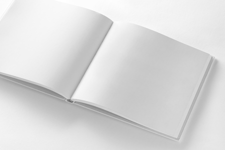 Mockup of opened blank square book at white design paper background. Stock fotó