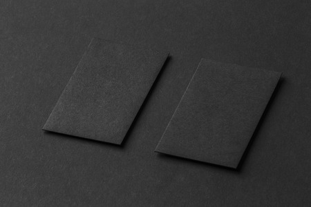 Mockup of two vertical business cards at black textured paper mockup of two vertical business cards at black textured paper background stock photo 66818726 reheart Image collections