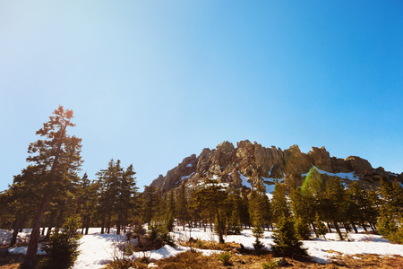 Spring landscape at Russian national park Taganay. Concept of tourism. Stock Photo