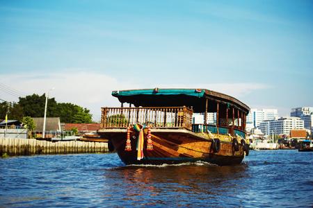Image of tourist boat ar Bangkok river background. Stock Photo