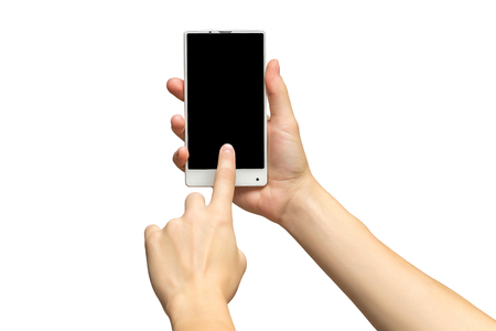 Mockup of female hand holding white cellphone and sliding black screen isolated at white background.